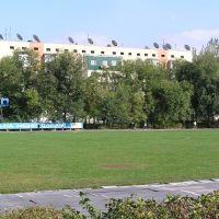 Футбольное поле,за ним кв.СПОРТИВНЫЙ, Кара-Балта