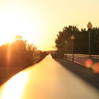 sunset on the pedestrian railway bridge, Светлогорск