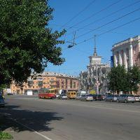 вид с проспекта Строителей на площадь Октября, Барнаул