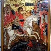 """Древняя икона """"Чудо Георгия о Змие"""" в Палехском музее. Т.н. змия держит женщина с короной на голове на поводке. А """"змий"""" о четырёх лапах с гребнем тритона сидит в водоёме!!!, Палех"""