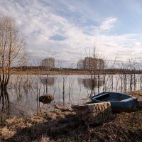 Разлив на Тезе. Лодка на берегу., Шуя