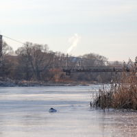 Подвесной мост над замерзающей Тезой., Шуя
