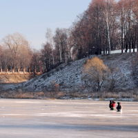 Зимние рыбаки на Тезе у городского парка., Шуя