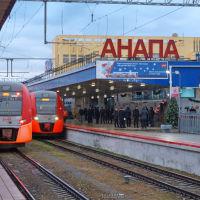 Электропоезда Ласточка на станции Анапа. 30 декабря 2019 г., Анапа