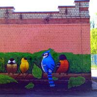 Рисунок граффити на электроподстанции во дворе на Советском проспекте (05.2016), Ивантеевка
