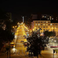 Улица  Борчанинова  ночью, Пермь