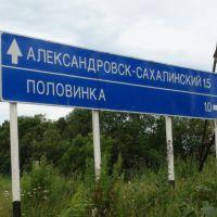 Александровск-Сахалинский. Указатель у поворота на Половинку., Александровск-Сахалинский