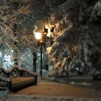 Зима, лермонтовский сквер, Железноводск