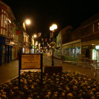 Central street of Stafford at night, Стаффорд
