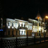 г.Днепр, дом с подсветкой на центральной улице, Днепропетровск