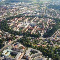 Panorama Luftaufnahme Neubrandenburg Zentrum mit Marktplatz Center - Panoramic Aerial Neubrandenburg center marketplace Center, Нойебранденбург