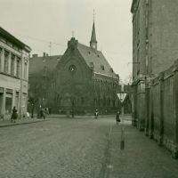 Weißenfels,Kubastrasse/Ecke Merseburgerstrasse, mit Blick auf Laurentiuskirche, März/April - 1956, Вейссенфельс