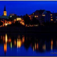 Magdeburg - nächtlicher Blick über die Elbe, Магдебург