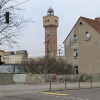 Blick  auf den weithin  sichtbaren  Wasserturm der * Aluminium - Folie * in  Merseburg in Sachsen - Anhalt, Мерсебург