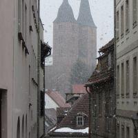 Schneegestöber am Ostersonntag - die Roten Spitzen von Altenburg, Альтенбург