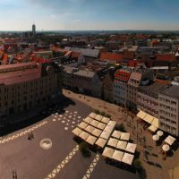 GER Augsburg City & Rathausplatz - Maximilianstrasse from Perlachturm Panorama by KWOT, Аугсбург