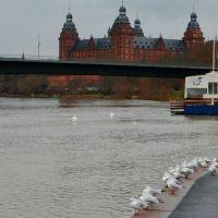 Aschaffenburg - Hochwasser im Hafen 01.2012 (Flood) - Restaurant Arche Noah am Floßhafen, Ашхаффенбург