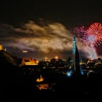 #9 St. Martin and St. Jodok from Carossahöhe by night with fireworks, Landshut, Ландсхут