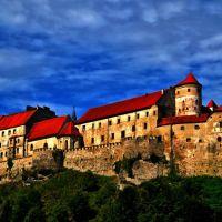 Burg in Burghausen vom anderen Salzach-Ufer aus gesehen, Бургхаузен