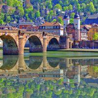 Heidelberg, Spiegelung am Neckar...., Хейдельберг