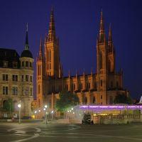 Marktkirche, Dernsches Gelände, Wiesbaden by night, Висбаден