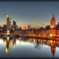 Nächtliche Skyline von Frankfurt, Франкфурт-на-Майне