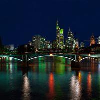 Skyline von Frankfurt am Main, bei Nacht., Франкфурт-на-Майне