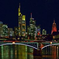 Die Skyline von Frankfurt am Main, bei Nacht., Франкфурт-на-Майне