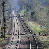 Bahnlinie Richtung Harz mit Formsignal, Волфенбуттель
