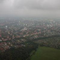 Luftaufnahme   Blick über  Salzgitter Lebenstedt und Kleingarten kolonien im Regen, Salzgitter