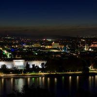 Koblenz - Blaue Stunde - Kurfürstliches Schloss und Preußisches Regierungsgebäude, Кобленц