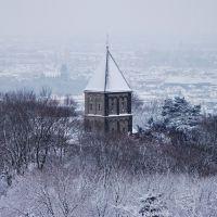 Verschneites Türmchen der St. Salvator Kirche auf dem Lousberg/January contest, Аахен