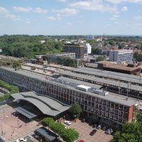 Bochum Hauptbahnhof aus dem 14. Stock des Europahauses gesehen, Бохум