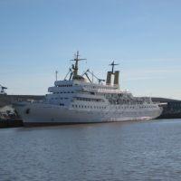 """Bremerhaven - Fischereihafen / Blick auf die Mercator II (ehemalige """"Wappen von Hamburg"""") - wird von der SSW anscheinend bis Sommer 2009 nicht mehr zu einem exklusiven Kreuzfahrtschiff für maximal 36 Gäste umgebaut sondern fällt wahrscheinlich dem Schneid, Бремерхафен"""