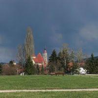 Panorama am Römerkastell Biriciana mit dem Nordtor, Zentralschule, Ellinger Tor, St. Andreas und Spital Kirche und Wülzburg, Вайсенбург