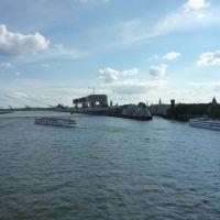 Severinsbrücke und Rheinauhalbinsel mit den 3 Kranhäusern, Кельн