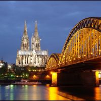 Blue Hour Serie - 13 sec. in Cologne - UNESCO World Heritage - River Rhine,  Hohenzollernbrücke , the Dom Cathedral of Cologne - Germany - Open it please - [By Stathis Chionidis], Кельн