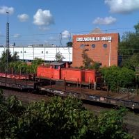 Emslandhallen Lingen mit einem Zug und Wagons, Линген