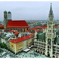 Frauenkirche,  Rathaus und Marienplatz,  Blick von der Sankt Peter Turm, Мюнхен