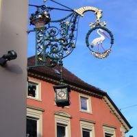 Freiburg, Restaurantschild des Restaurants Storchen La Cicogna ¦ pilago, Фрайбург