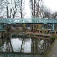Champigny - bras de la Marne et le pont vers lile du martin pêcheur, Сен-Мар-дес-Фоссе