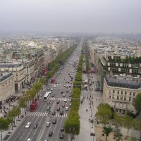 View down the Champs Elysees from top of the Arc de Triumph, Paris, France, Левальлуи-Перре