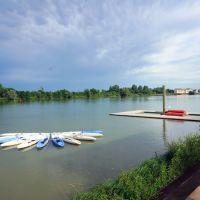 Blick auf den Fluss Saone-et-Loire bei Macon am Donnerstag, 22. Mai 2014 spät nachmittags, Макон