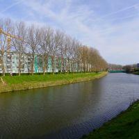 Coudekerque-Branche - Canal des Moères - vue sur le pont de la D601, Дюнкерк