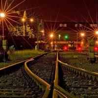 Railway station at night, Ostrava, Острава