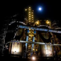 Night blast furnace with full moon/ Noční vysoká pec s úplňkem. Please see full size, Острава