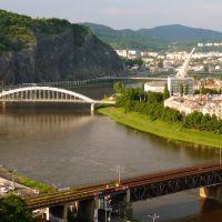 Ústí nad Labem, mosty v podvečer, Усти-над-Лабем