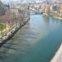 (messi07) Blick von Kirchenfeldbrücke auf die Aare [240°], Берн