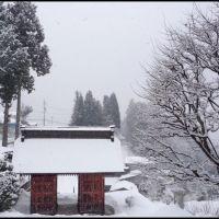 Entrance of the South Gate of Kozanji Temple, Ogawa village, Ичиномия