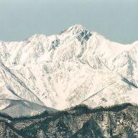 菱形がよく見える五龍岳Goryudake 冬 小川村, Ичиносеки